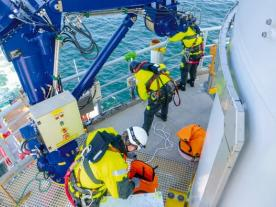 Maintenance work of Deutsche Windtechnik at offshore wind farm DanTysk (Photo: Deutsche Windtechnik)