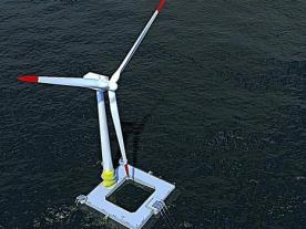 Floatgen is the first wind turbine equipped with a floating foundation to be installed off the French coast (Graphic: Floatgen)