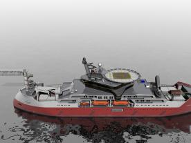 """""""The Twin X-Stern vessels will be ideal for maintaining large-scale wind farming activities far from the shore,"""" says Chief Designer Øyvind Gjerde Kamsvåg. (Graphic: Ulstein)"""