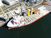 Loadout of the two monopiles and transition pieces at EEW SPC quay in Rostock